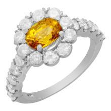 Lot 74: 14k White Gold 1.43ct Yellow Sapphire 1.56ct Diamond Ring