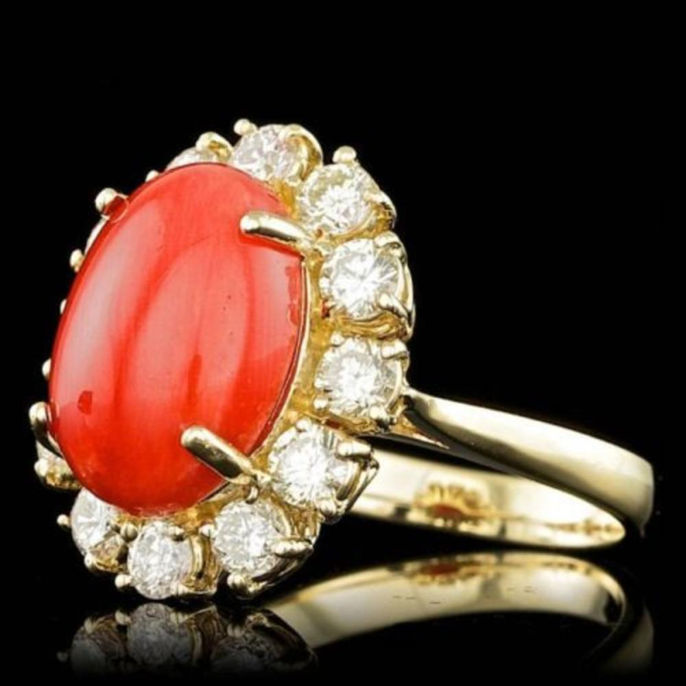 Lot 77: 14K Yellow Gold 5.78ct Coral and 1.58ct Diamond Ring