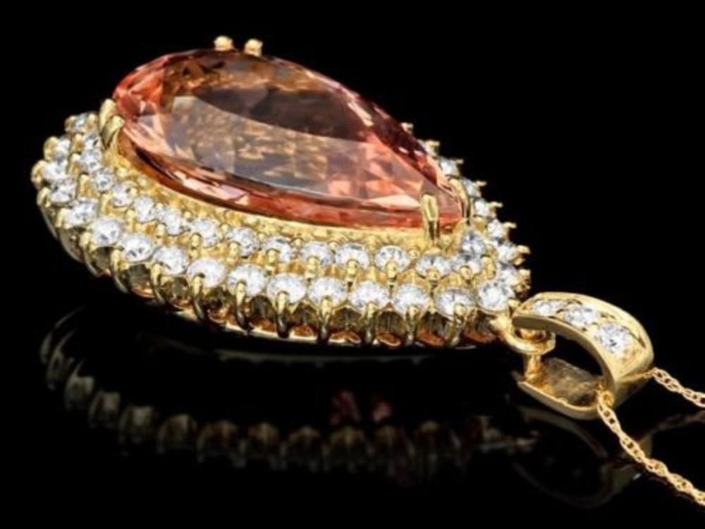 Lot 78: 14K Gold 19.91ct Morganite 3.47ct Diamond Pendant