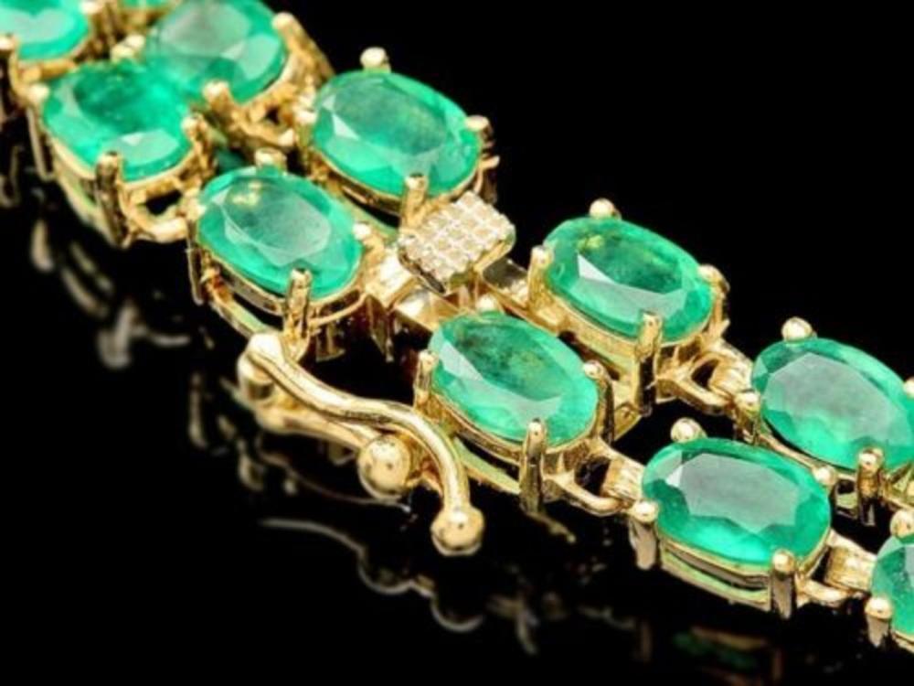 Lot 81: 14K Gold 18.21ct Emerald 1.54ct Diamond Bracelet