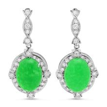 Lot 82: 14K Gold 17.99ct Jadeite 1.97cts Diamond Earrings