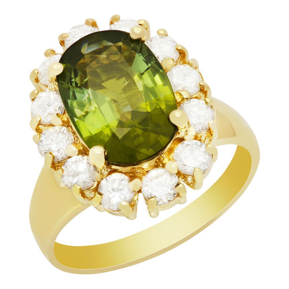 Lot 83: 14k Yellow Gold 2.83ct Green Tourmaline 1.14ct Diamond Ring