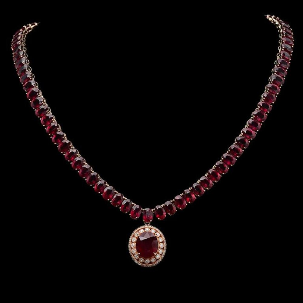 14K Gold 115.49ct Ruby 1.38ct Diamond Necklace