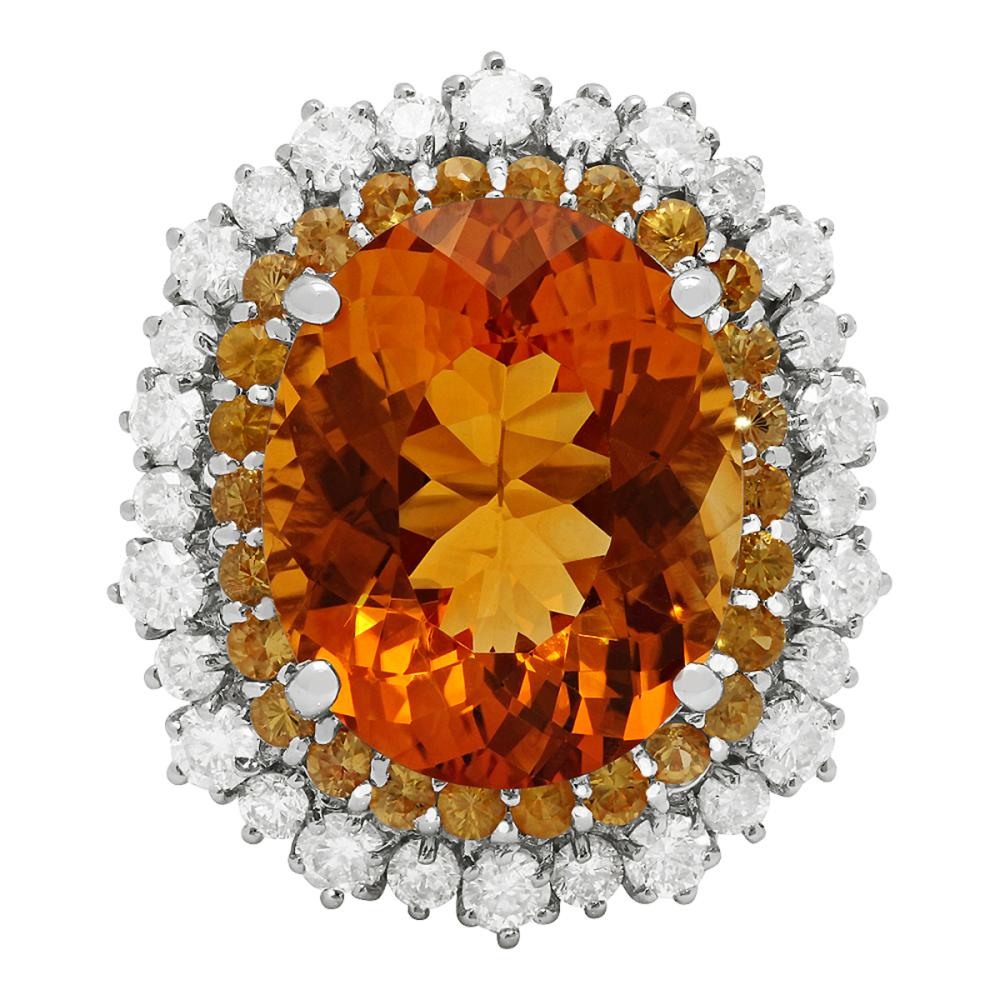 Lot 89: 14k White Gold 10.36ct Citrine 1.00ct Yellow Sapphire 1.40ct Diamond Ring