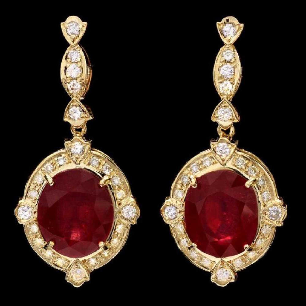Lot 9: 14K Yellow Gold 21.36ct Ruby and 1.32ct Diamond Earrings