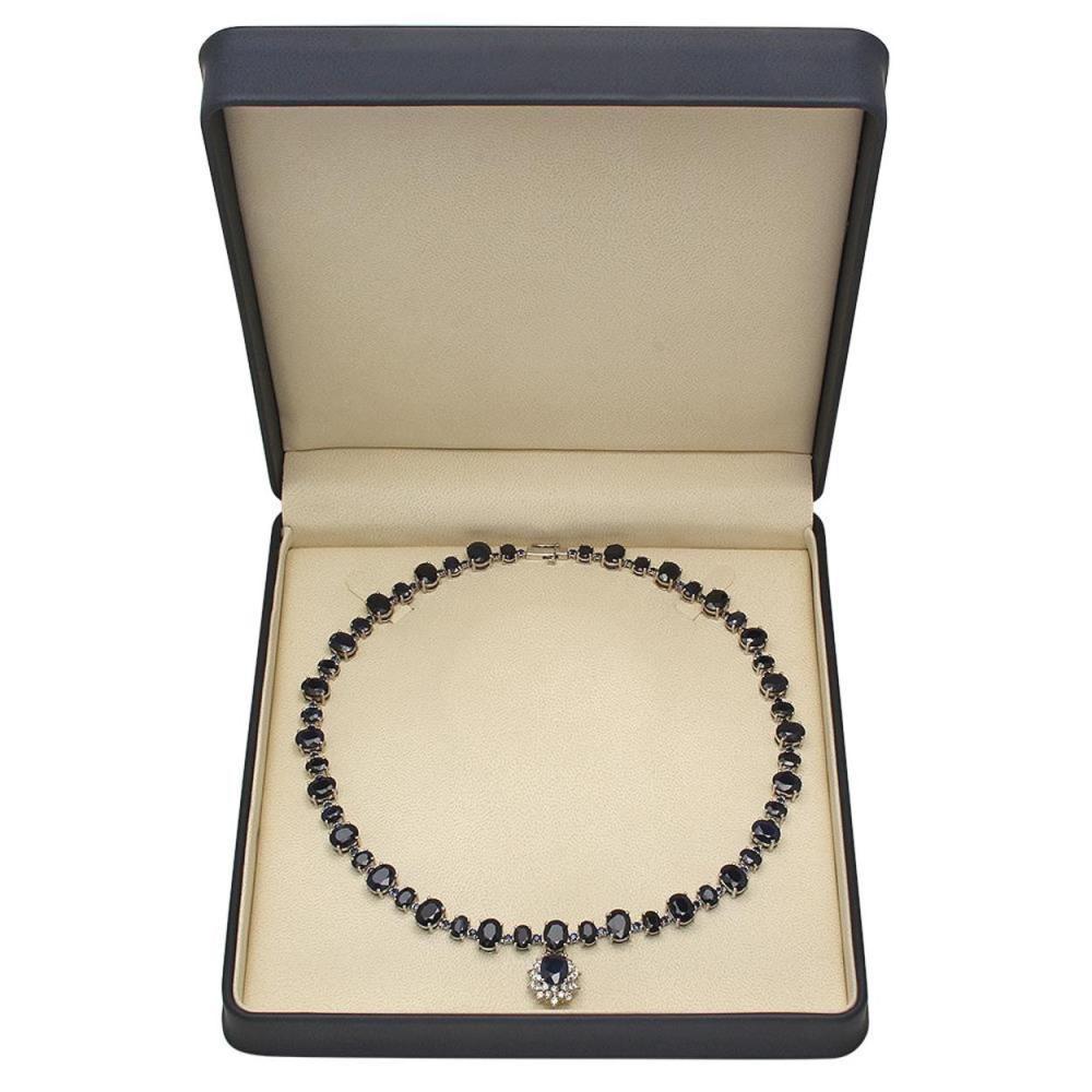 Lot 91: 14K Gold 49.25ct Sapphire 1.72ct Diamond Necklace