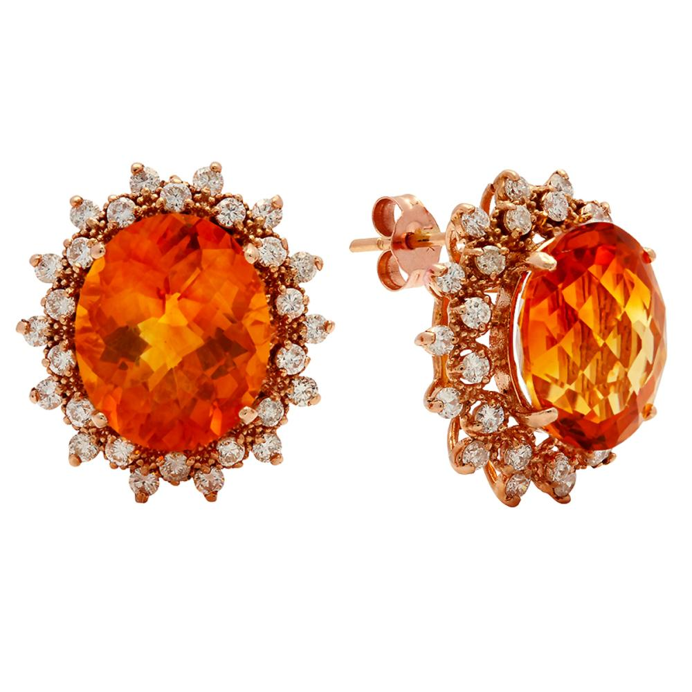 Lot 92: 14k Rose Gold 10.96ct Citrine 1.42ct Diamond Earrings