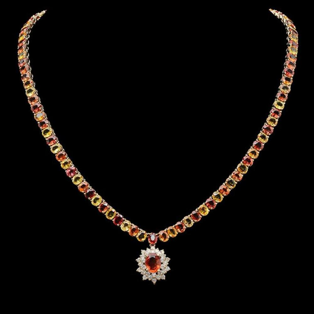 14K Gold 45.63ct Multi-Color Sapphire & 1.37ct Diamond Necklace