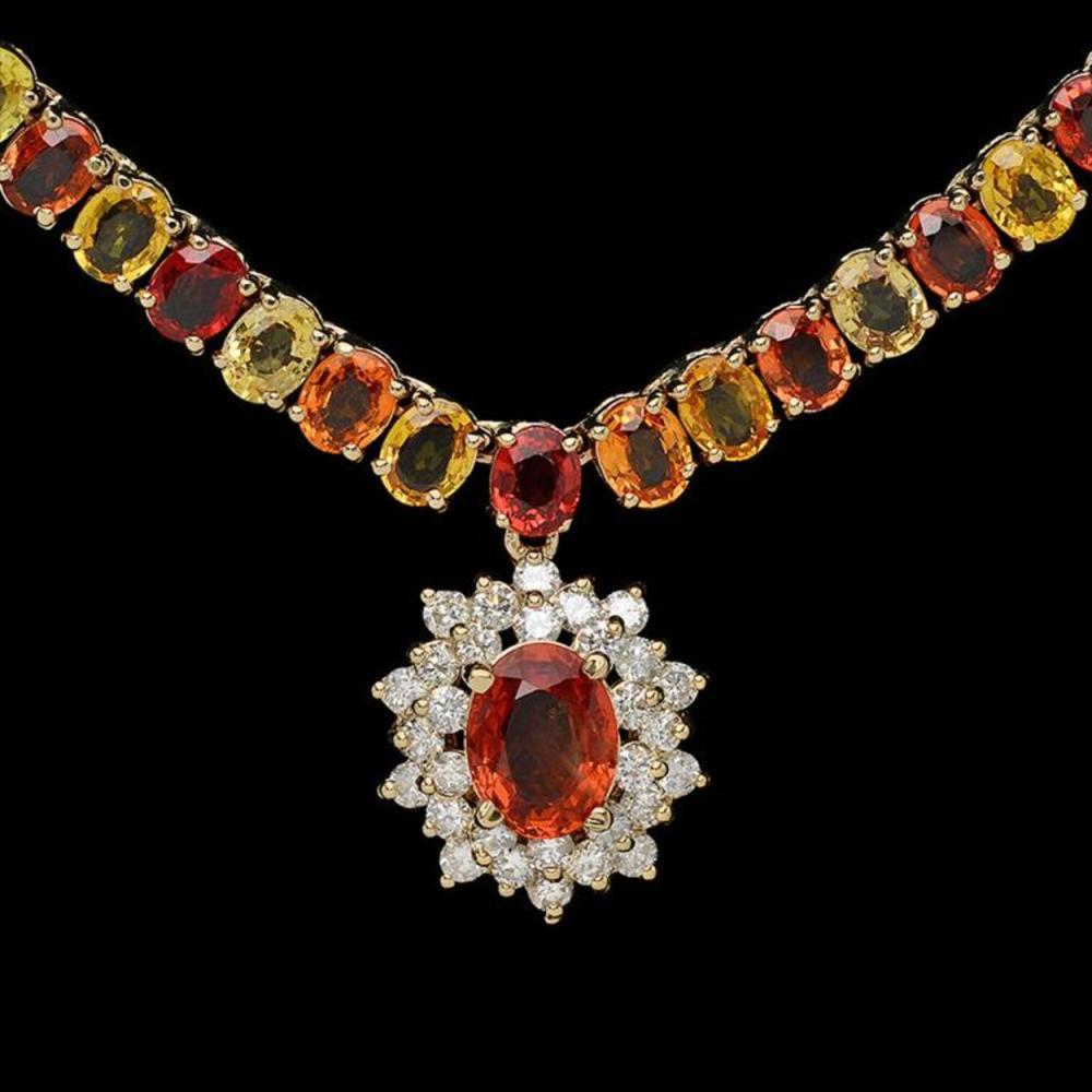 Lot 93: 14K Gold 45.63ct Multi-Color Sapphire & 1.37ct Diamond Necklace