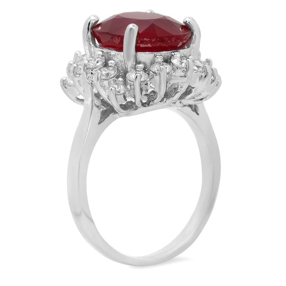 Lot 94: 14K White Gold 7.07ct Ruby and 1.15ct Diamond Ring