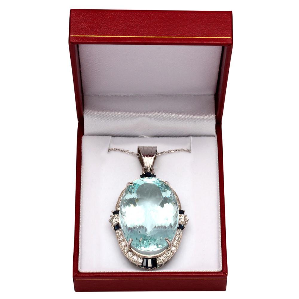 Lot 95: 14k White Gold 45.10ct Aquamarine 0.70ct Blue Sapphire 2.40ct Diamond Pendant