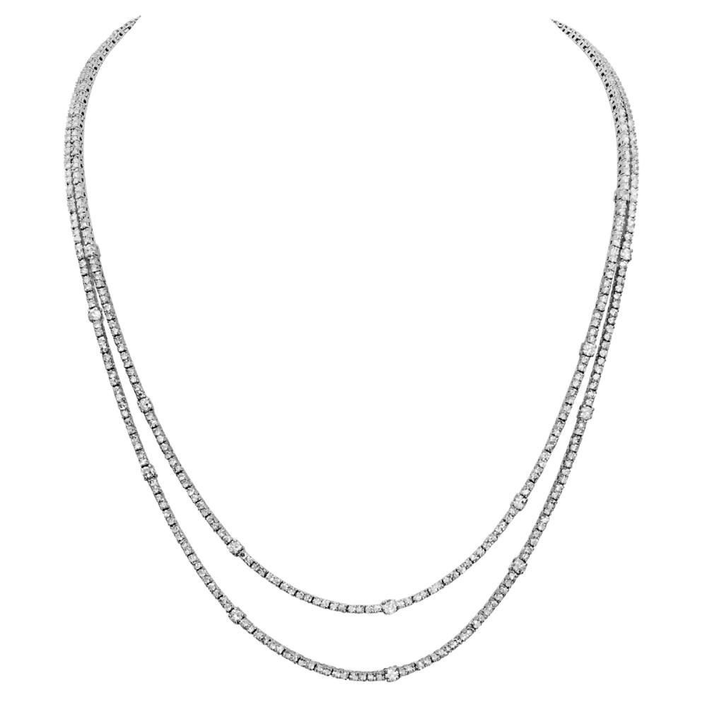 Lot 96: 14k White Gold 10.97ct Diamond Necklace