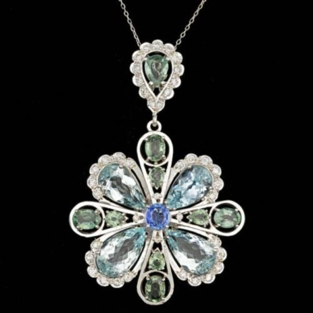 14K Gold 20.11ct Aquamarine 3.52ct Sapphire 1.49ct Diamond Pendant