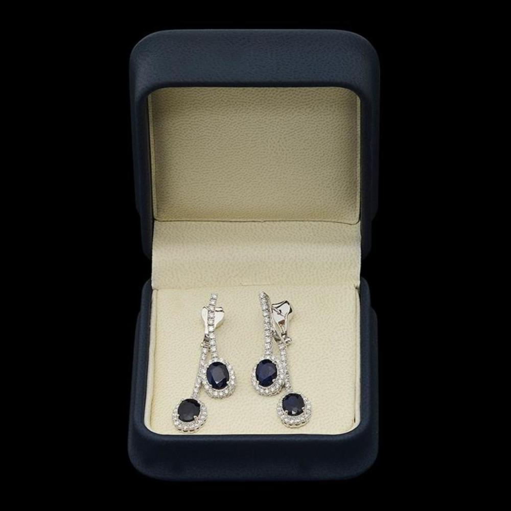 Lot 98: 14K Gold 7.17ct Sapphire 2.00ct Diamond Earrings