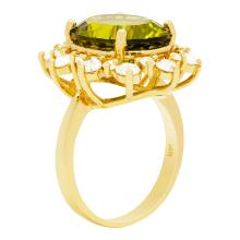 Lot 99: 14k Yellow Gold 8.97ct Peridot 1.70ct Diamond Ring