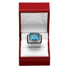 Lot 41: 14k White Gold 17.58ct Blue Topaz 1.75ct Blue Sapphire 0.78ct Diamond Ring