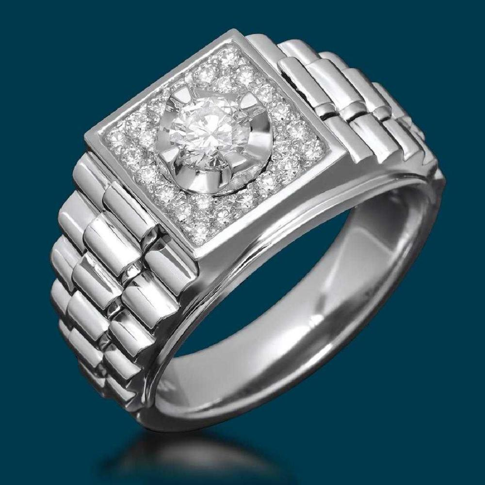 14K White Gold 1.33ct Diamond Mens Ring