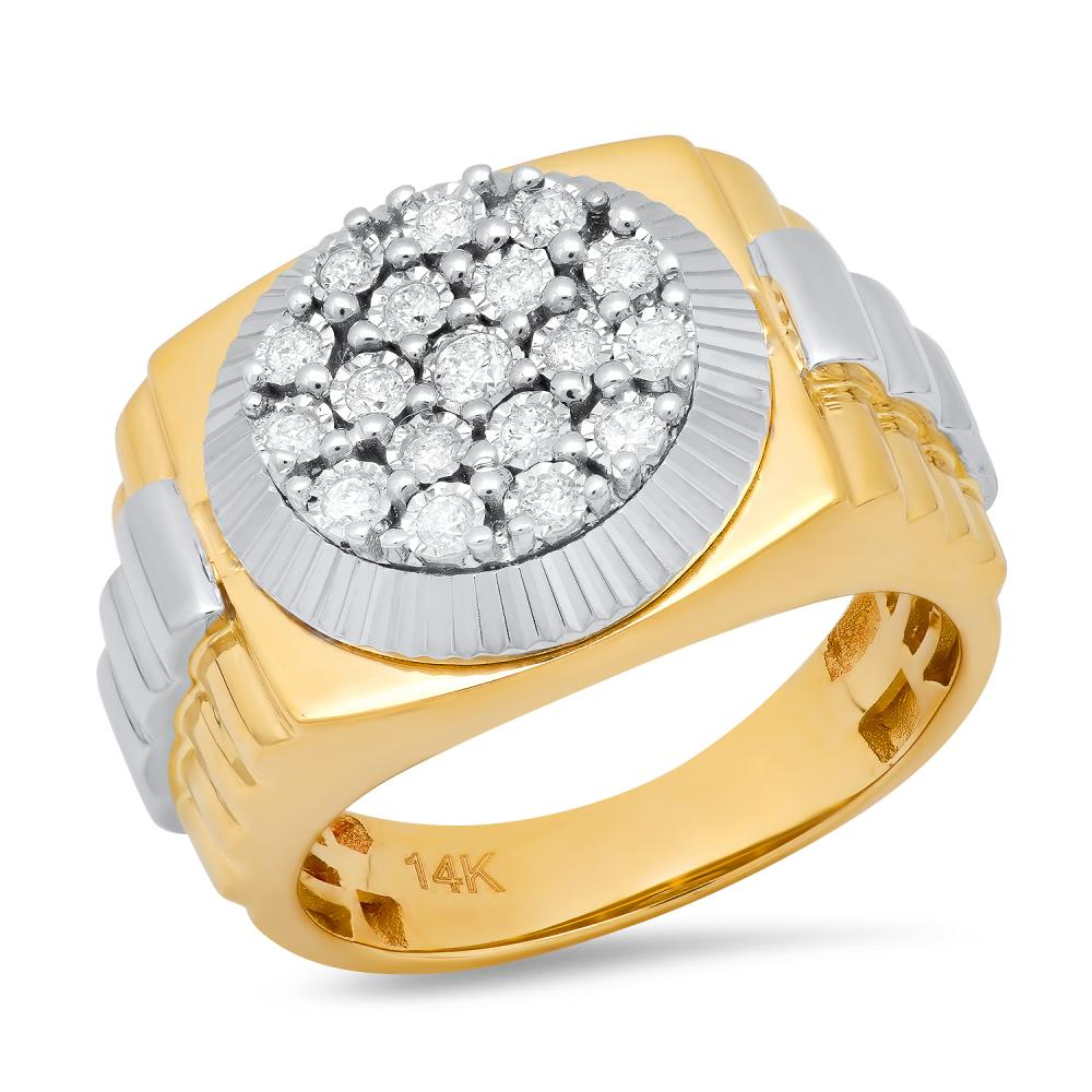 14K Yellow and White Gold with 0.50ct Diamond Mens Ring