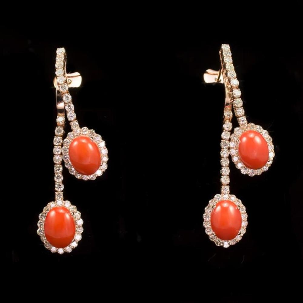 14K Gold 4.63ct Coral 2.77ct Diamond Earrings