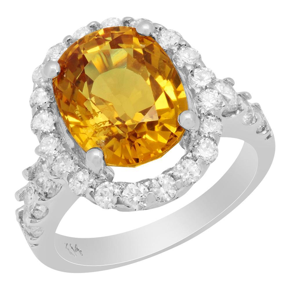 14k White Gold 6.95ct Yellow Sapphire 1.42ct Diamond Ring