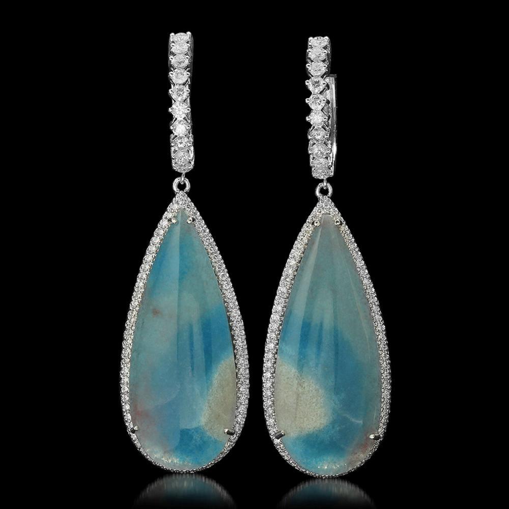 14K Gold 35.18ct Chalcedony 2.29ct Diamond Earrings