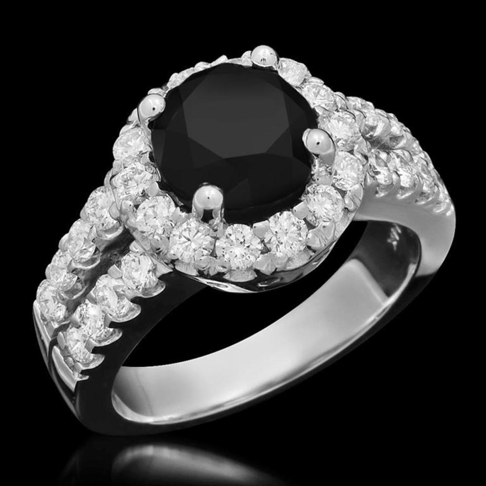 14K White Gold 3.06ct Fancy Color Diamond and 1.33ct Diamond Ring