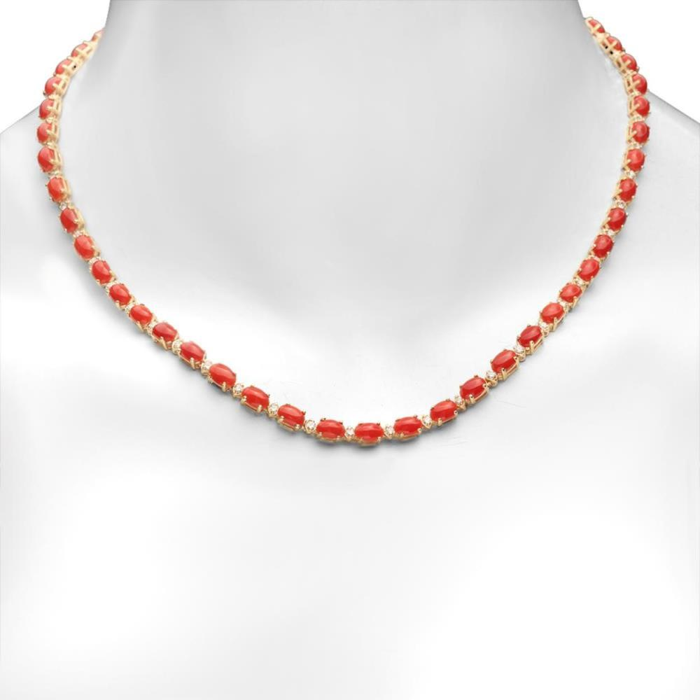 14K Gold 17.92ct Coral 1.23cts Diamond Necklace
