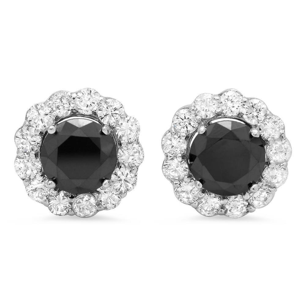14K Gold 2.67ct Fancy Color 1.81 Diamond Earrings