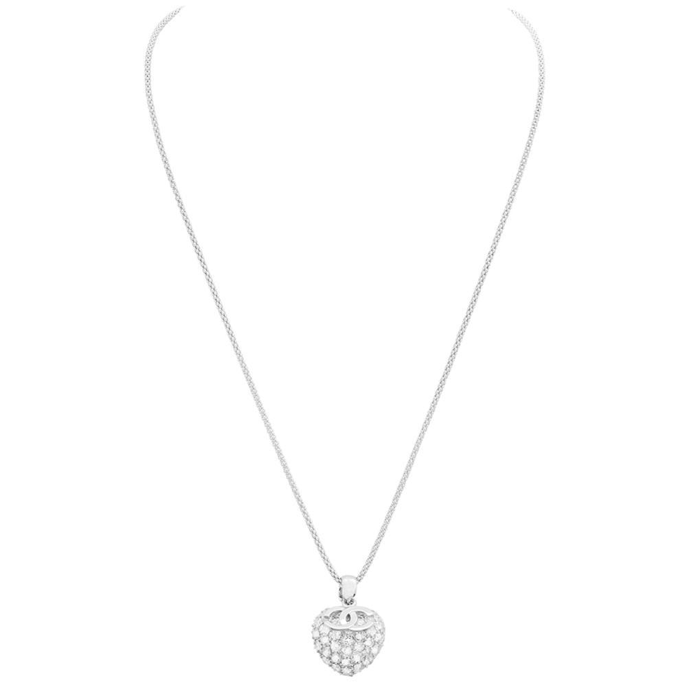 14k White Gold 2.98ct Diamond Pendant With Chain