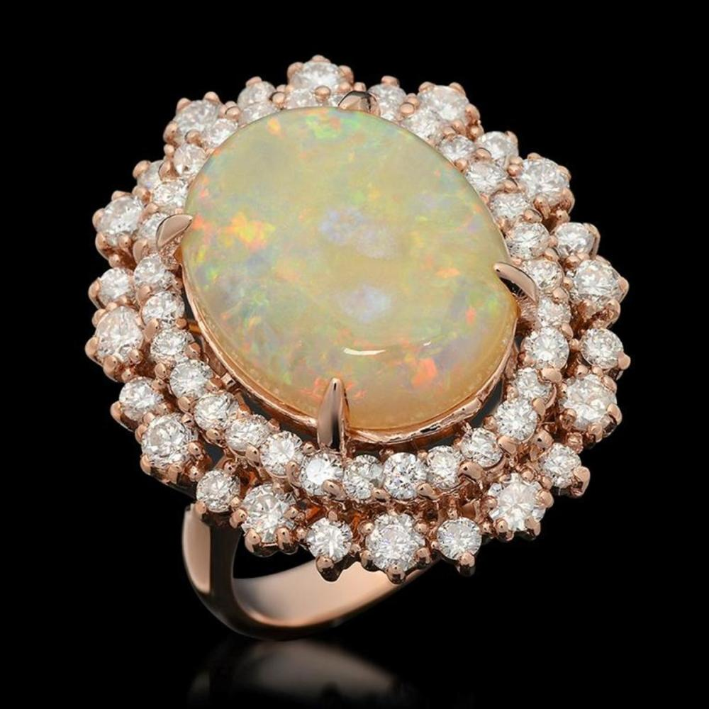 14K Rose Gold 5.79ct Opal and 1.87ct Diamond Ring