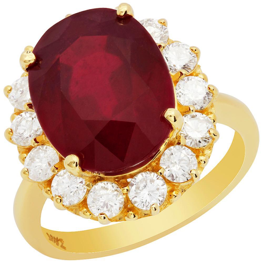 14k Yellow Gold 11.08ct Ruby 1.46ct Diamond Ring