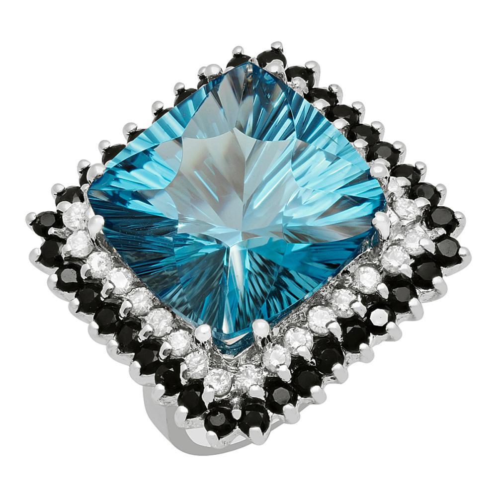 14k White Gold 17.58ct Blue Topaz 1.75ct Blue Sapphire 0.78ct Diamond Ring