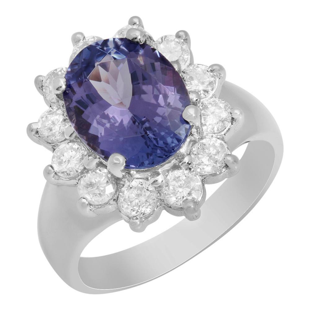 14k White Gold 3.43ct Tanzanite 1.00ct Diamond Ring