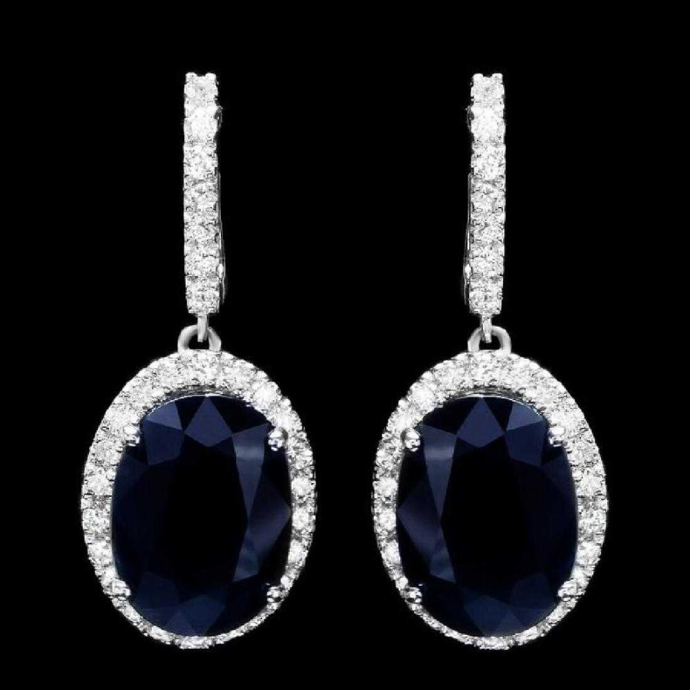 14K White Gold 14.12ct Sapphire and 1.74ct Diamond Earrings