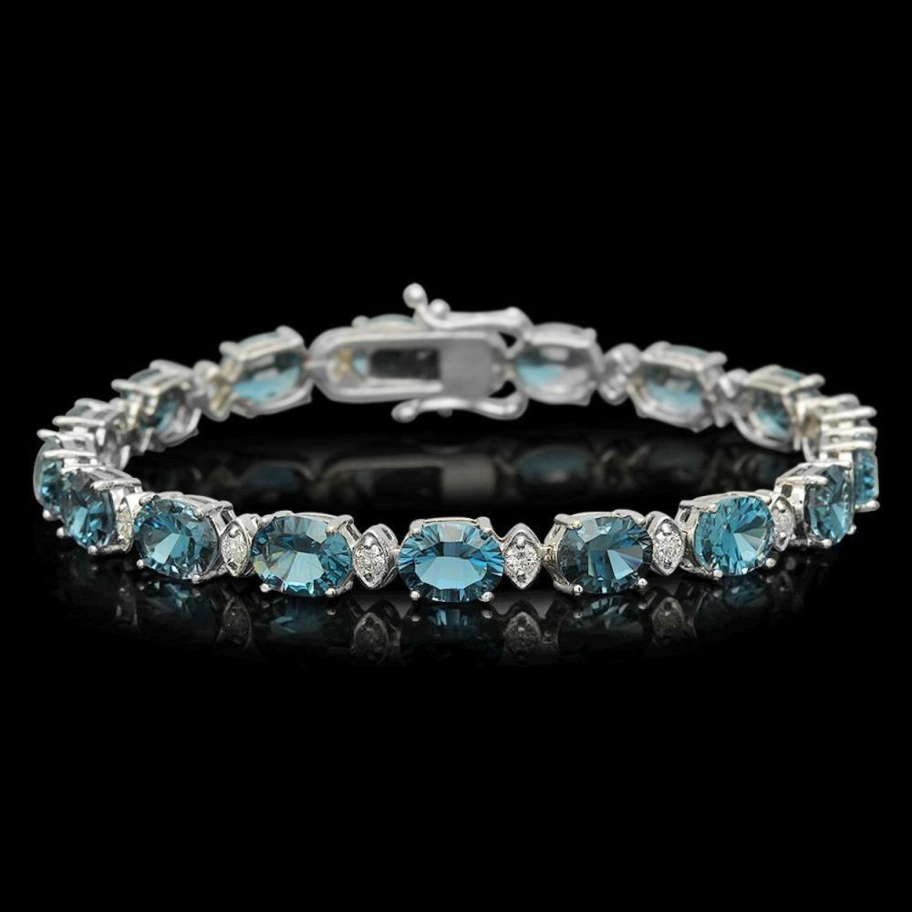 14K Gold 23.16ct Topaz 0.99ct Diamond Bracelet