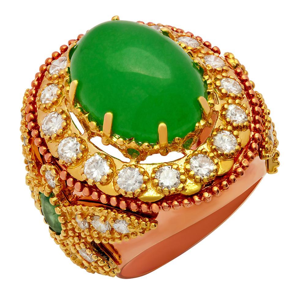 14k Yellow & Rose Gold 8.97ct Jade 1.00ct Emerald 2.34ct Diamond Ring