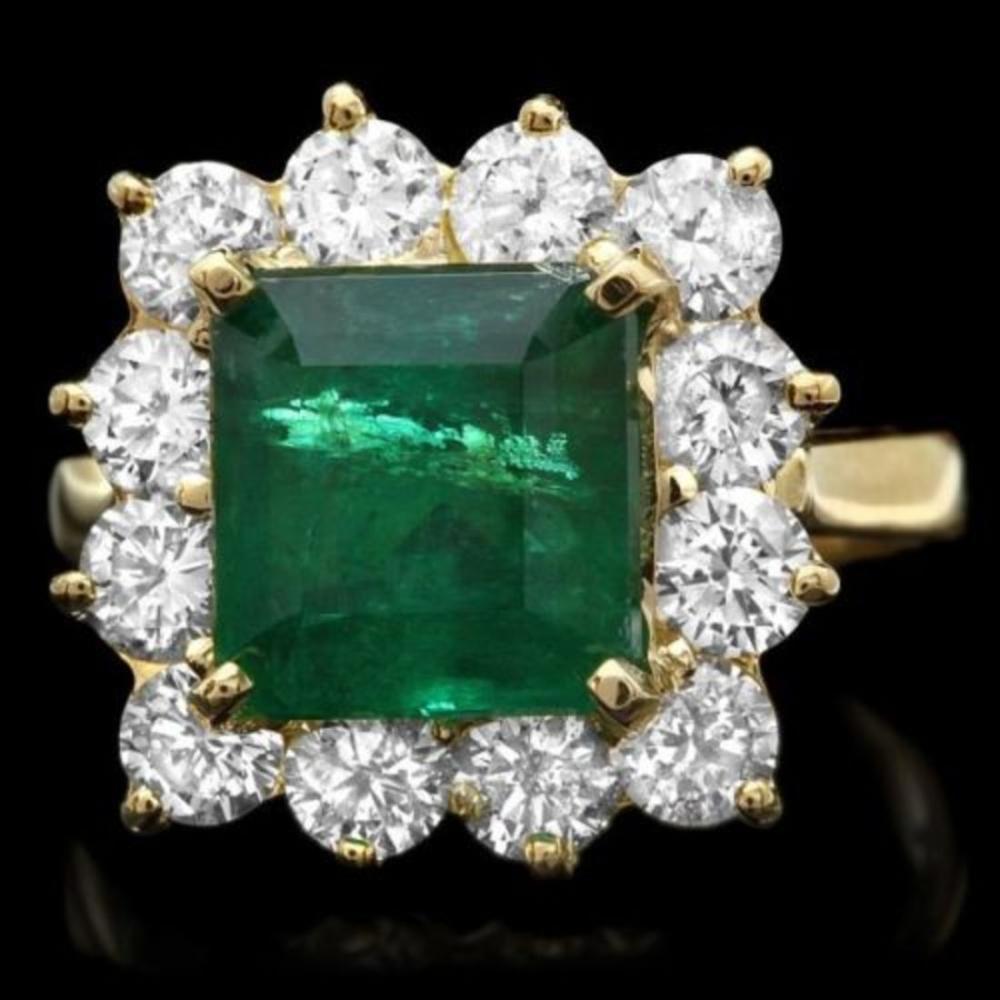 14K Yellow Gold 3.92ct Emerald and 1.98ct Diamond Ring
