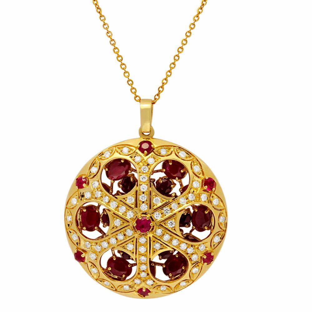 14k Yellow Gold 16.86ct Ruby 1.97ct Diamond Pendant