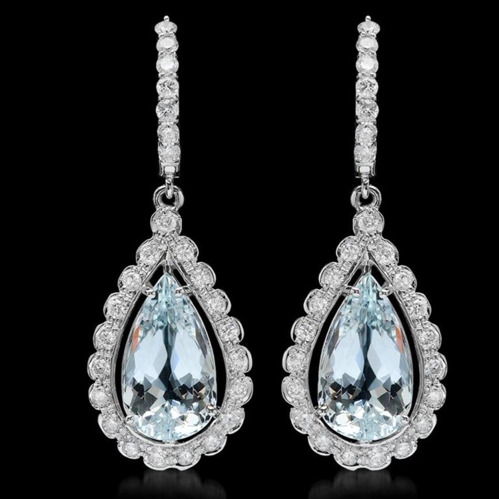 14k Gold 8.34ct Aquamarine 1.52ct Diamond Earrings