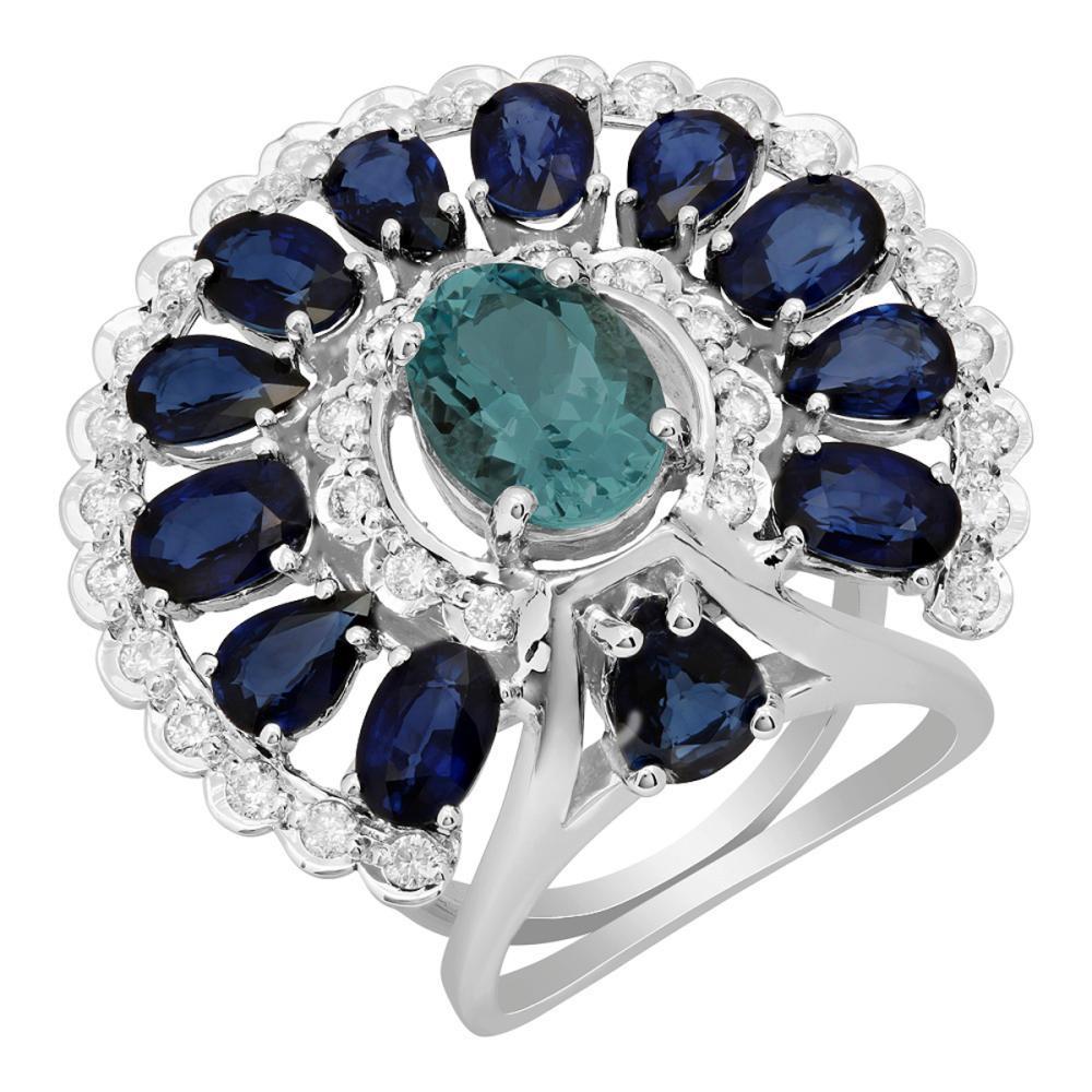14k White Gold 2.04ct Aquamarine 6.56ct Sapphire 0.97ct Diamond Ring