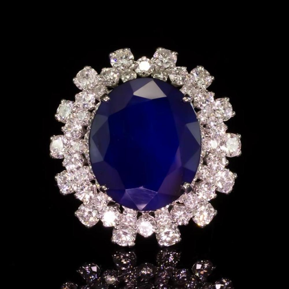 14K White Gold 12.50ct Sapphire and 3.87ct Diamond Ring