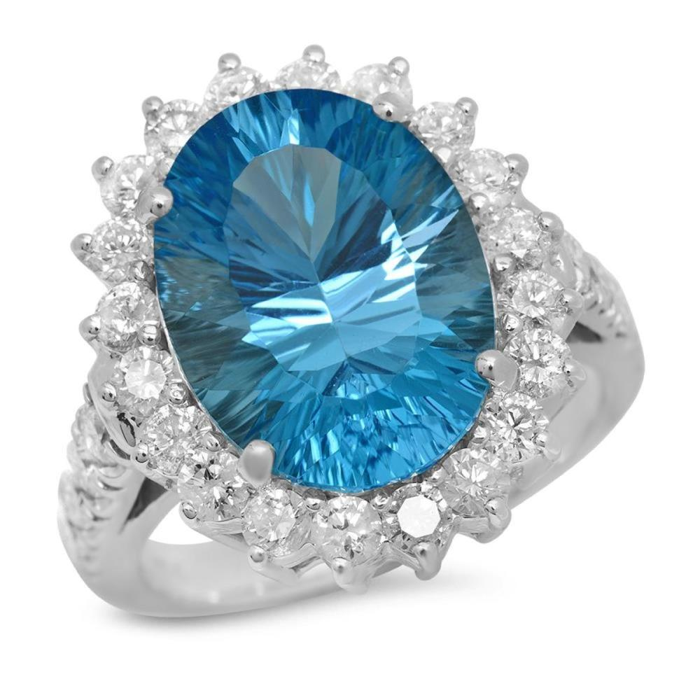 14K White Gold 8.11ct Topaz and 1.57ct Diamond Ring