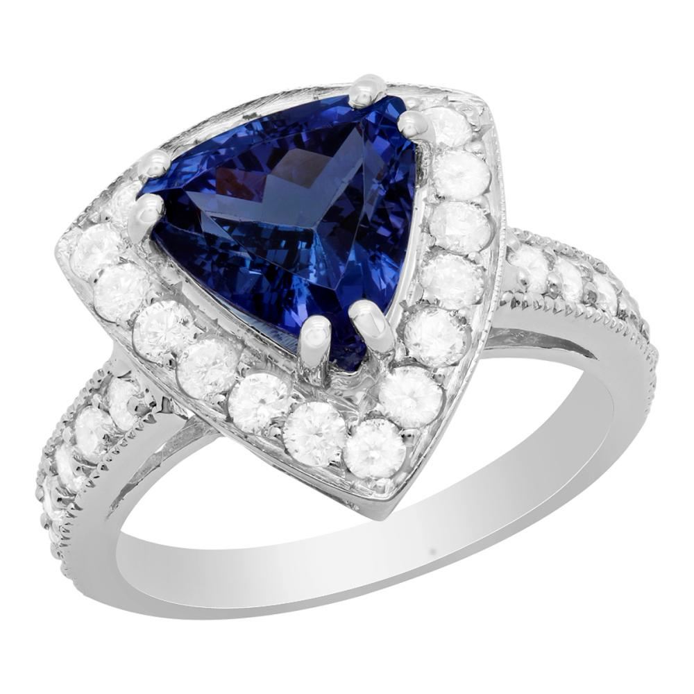 14k White Gold 2.75ct Tanzanite 1.01ct Diamond Ring