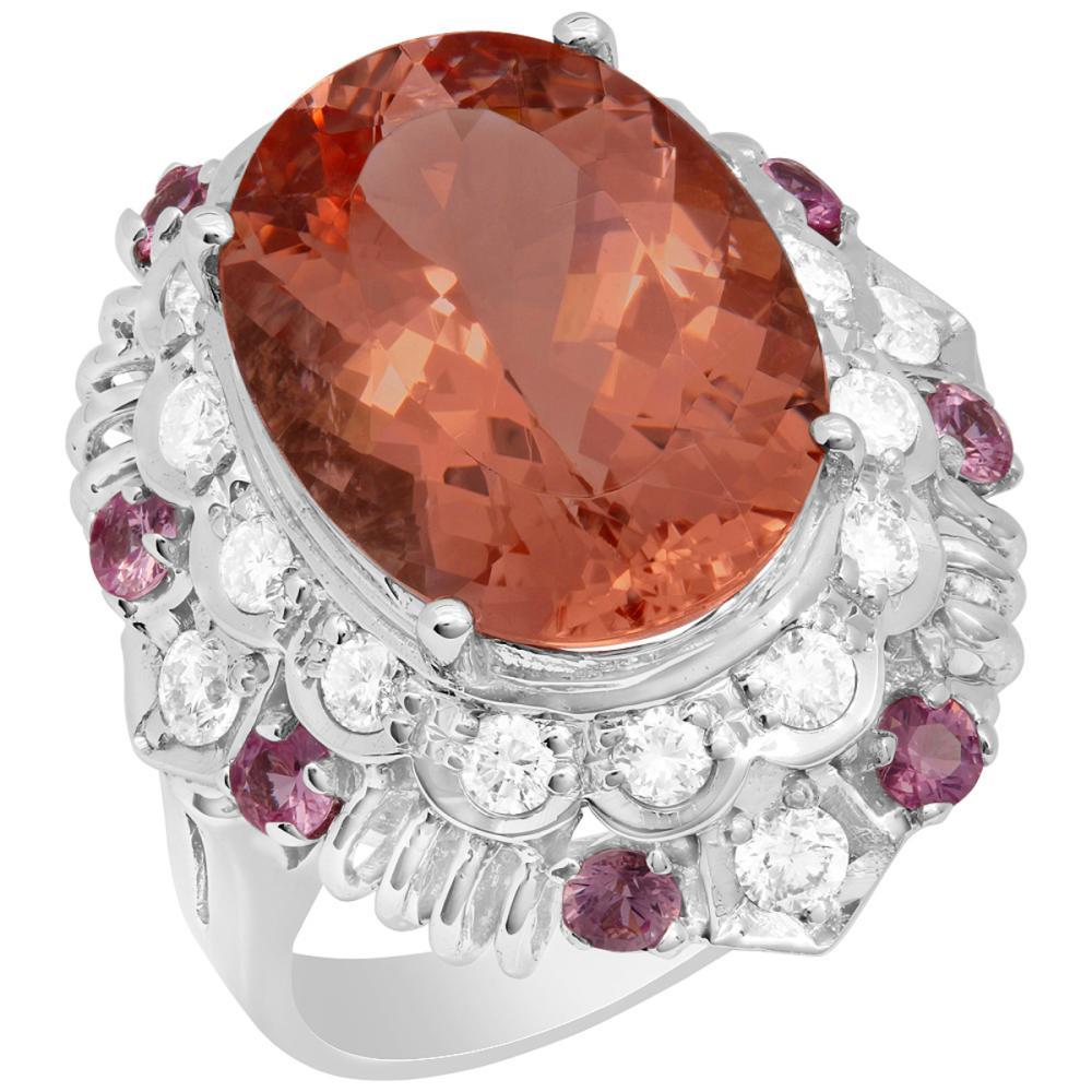 14k White Gold 8.06ct Morganite 0.65ct Pink Sapphire 0.85ct Diamond Ring
