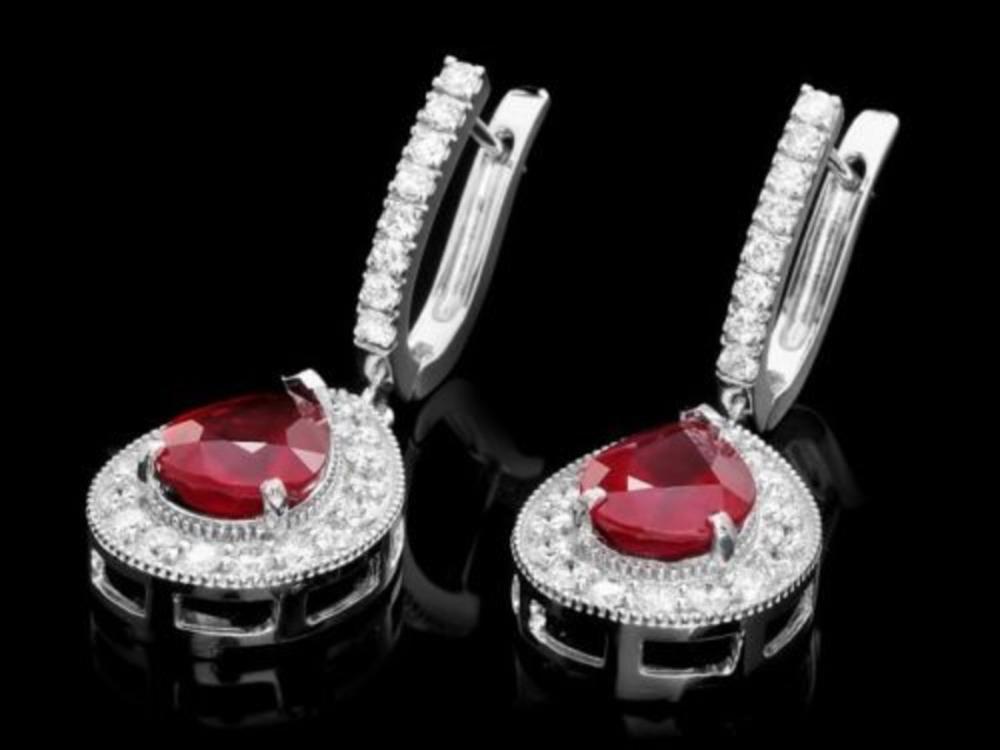 14k Gold 6.63ct Ruby 1.69ct Diamond Earrings