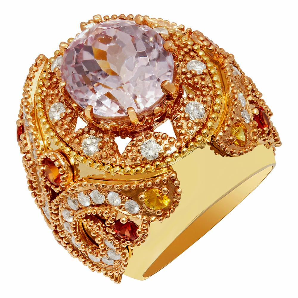 14k Yellow Gold 15.08ct Kunzite 1.20ct Sapphire 1.58ct Diamond Ring