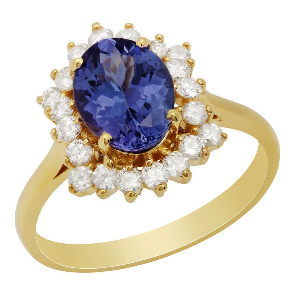 14k Yellow Gold 1.71ct Tanzanite 0.55ct Diamond Ring