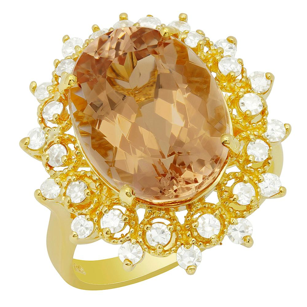 14k Yellow Gold 7.69ct Morganite 0.66ct Diamond Ring