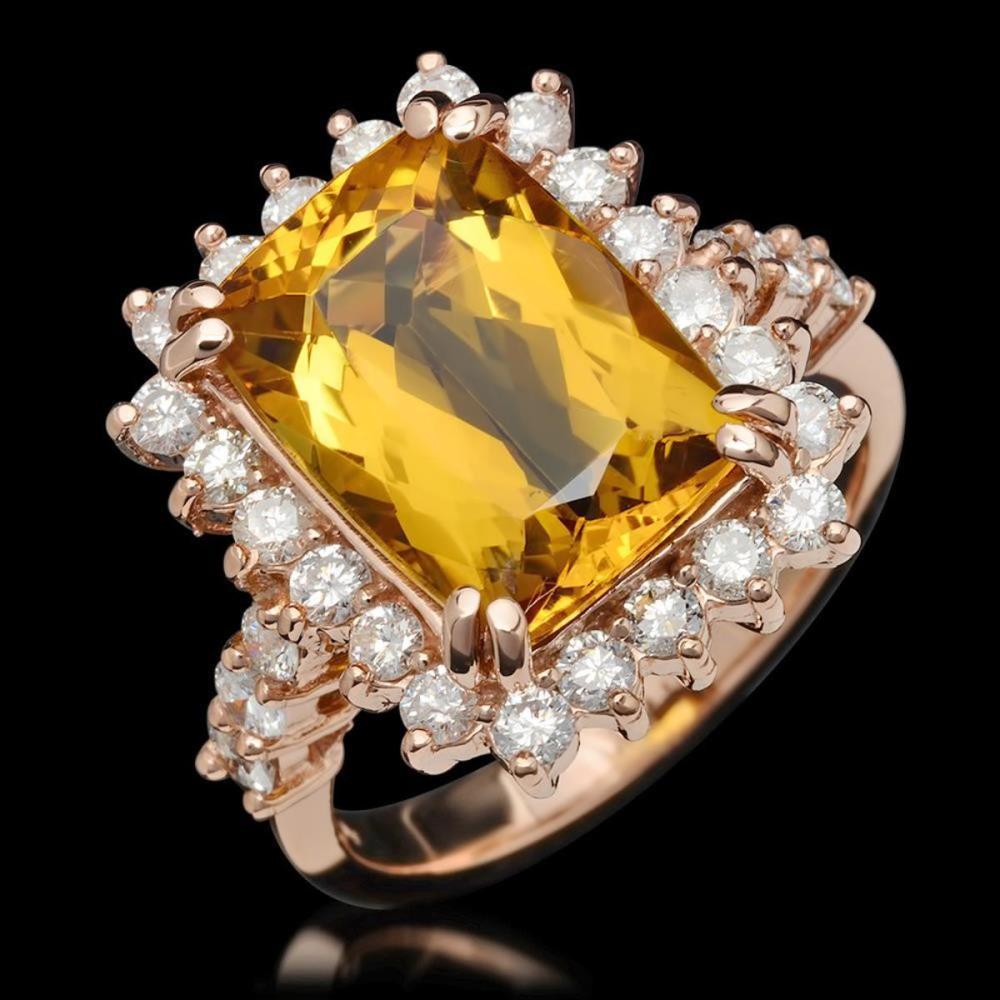 14K Rose Gold 5.02ct Beryl and 1.10ct Diamond Ring