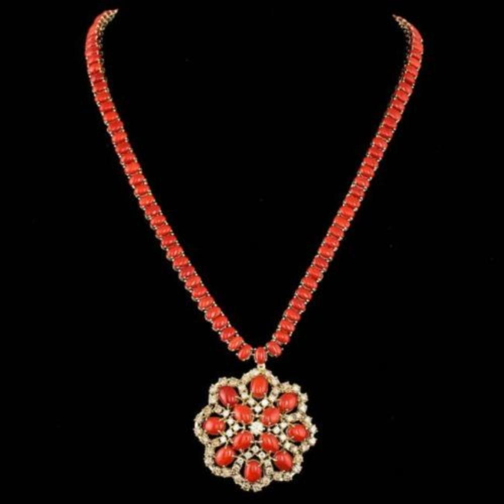 14K Yellow Gold 56.35ct Coral and 5.38ct Diamond Necklace